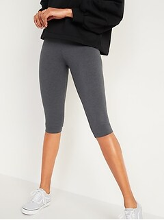 High-Waisted Jersey Capri Leggings for Women