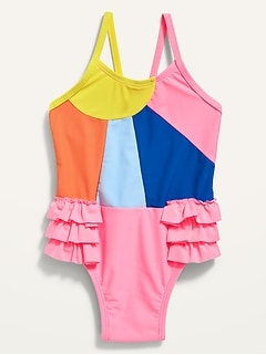 Ruffle-Trim Color-Blocked Swimsuit for Toddler Girls