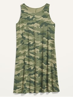 Sleeveless Jersey-Knit Plus-Size Swing Dress