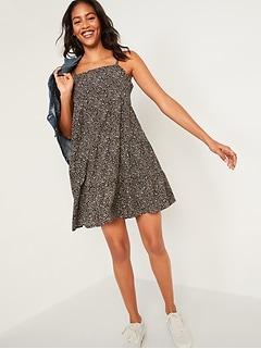 Robe trapèze étagée à imprimé sans manches pour Femme