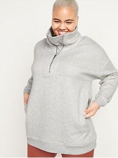 Chandail en coton ouaté surdimensionné en jersey bouclette avec demi-glissière et à col entonnoir pour Femme