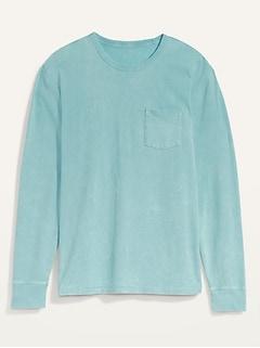 Vintage Gender-Neutral Garment-Dyed Long-Sleeve Pocket Tee for Adults