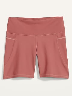 High-Waisted Elevate Powersoft Side-Pocket Plus-Size Biker Shorts -- 8-inch inseam