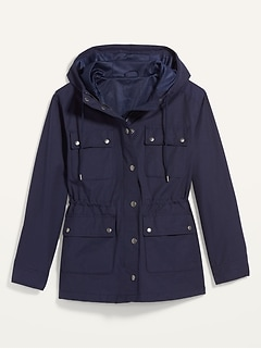 Water-Resistant Canvas Hooded Utility Jacket for Women