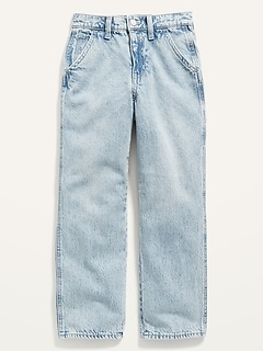 High-Waisted Light-Wash Workwear Ankle Jeans for Girls