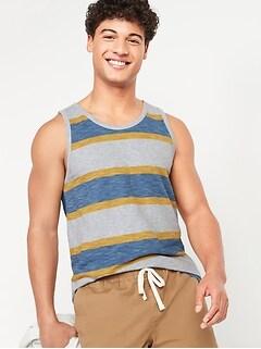 Soft-Washed Striped Slub-Knit Tank Top for Men