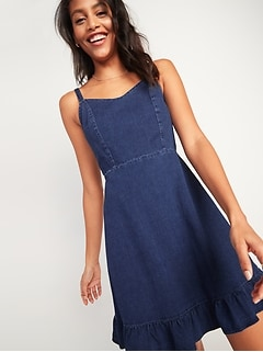 Fit & Flare Cami Ruffle-Hem Jean Dress for Women
