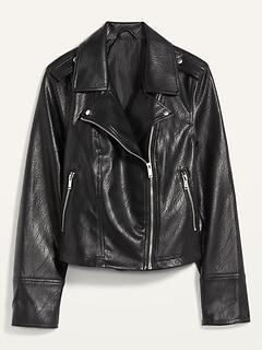 Faux-Leather Zip-Pocket Moto Jacket for Women