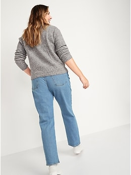 High-Waisted Slouchy Straight Light-Wash Jeans for Women