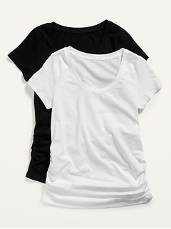 Maternity Scoop-Neck Side-Shirred Tee 2-Pack