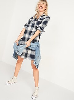 Flannel Western Shirt Shift Dress for Women