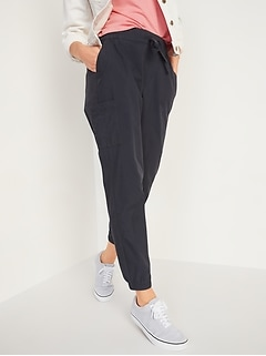 High-Waisted Poplin Tapered Jogger Cargo Pants for Women