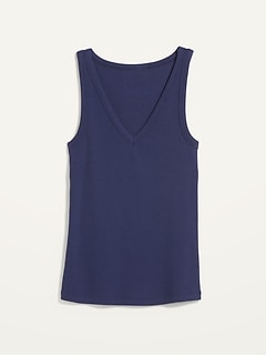Slim-Fit Rib-Knit V-Neck Tank Top for Women