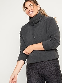 Go-Warm Cropped Micro Performance Fleece Funnel-Neck Sweatshirt for Women