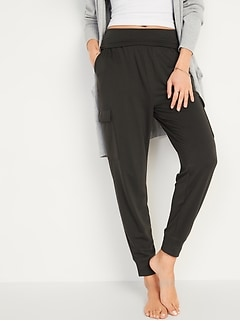 Mid-Rise French Terry Cargo Jogger Yoga Pants for Women