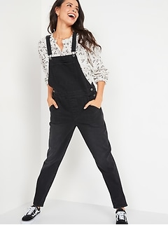 O.G. Straight Black Jean Overalls for Women