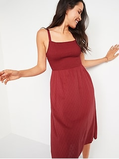 Smocked Textured Clip-Dot Fit & Flare Cami Midi Dress for Women