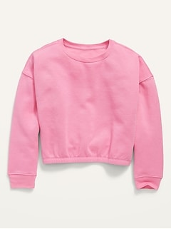 Cropped Cinched-Hem Crew-Neck Pullover Sweatshirt for Girls