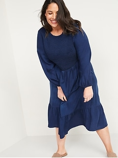 Smocked Chambray Fit & Flare Plus-Size Midi Dress