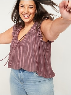 Ruffled Crinkle-Texture Striped Tie-Neck Plus-Size Blouse