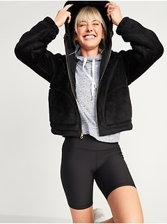 Loose Cozy Sherpa Crop Zip Hoodie for Women
