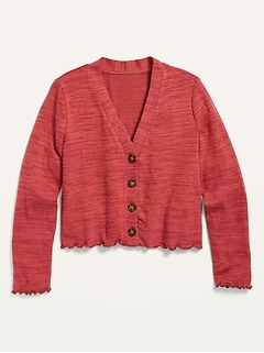 Cropped Plush-Knit Button-Front Cardigan Sweater for Girls