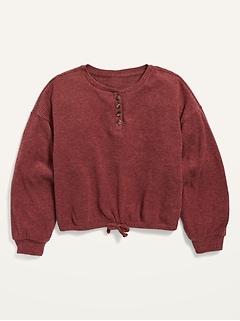 Cozy Cinched-Hem Rib-Knit Top for Girls