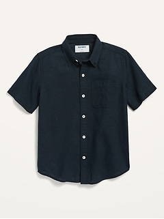 Short-Sleeve Linen-Blend Shirt for Boys