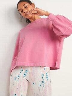 Garment-Dyed Blouson-Sleeve Sweatshirt for Women