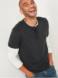 T-shirt henley en tricot flammé avec patte en toile à manches courtes pour Homme