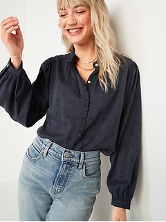 Oversized Ruffled Floral-Embroidered Poet Blouse for Women
