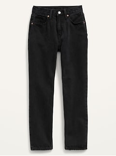 High-Waisted Slouchy Straight Black-Wash Jeans for Girls