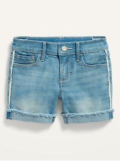 Light-Wash Side-Lace Frayed-Hem Jean Midi Shorts for Girls