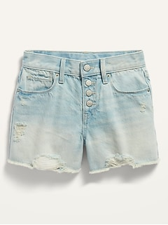 Extra High-Waisted Light-Wash Distressed Cut-Off Jean Shorts for Girls