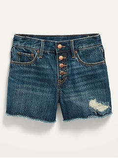 Extra High-Waisted Dark-Wash Distressed Cut-Off Jean Shorts for Girls