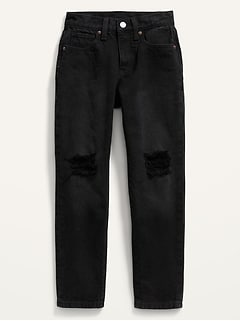 High-Waisted O.G. Slim Straight Built-In-Tough Ripped Black Jeans for Girls