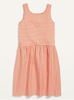 Patterned Jersey Sleeveless Fit & Flare Dress for Girls