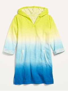 Ombré Slub-Knit Hooded Swim Cover-Up for Girls