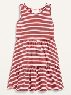 Sleeveless Tiered Slub-Knit Dress for Girls