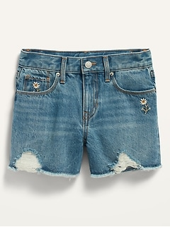 Extra High-Waisted Distressed Cut-Off Jean Shorts for Girls