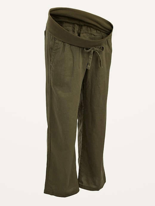 Maternity Rollover-Waist Linen-Blend Wide-Leg Pants
