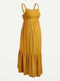 Maternity Smocked-Bodice Cami Midi Dress