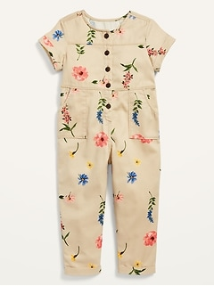 Short-Sleeve Twill Utility Jumpsuit for Toddler Girls