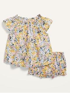 Ensemble avec haut et à smocks et culotte bouffante à fleurs pour Bébé