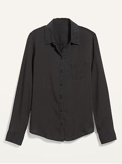 Black Chambray Classic Shirt for Women