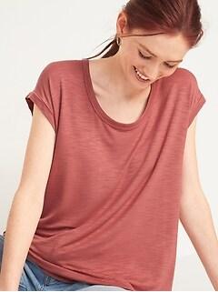 T-shirt tunique luxueux en tricot grège à encolure dégagée pour Femme
