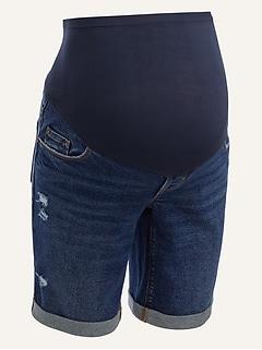 Maternity Full Panel Ripped Bermuda Jean Shorts -- 9-inch inseam