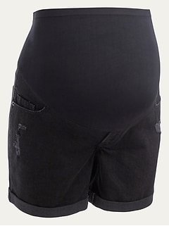 Maternity Full-Panel Boyfriend Black Ripped Jean Shorts -- 5-inch inseam