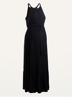 Maternity Sleeveless Tie-Belt Maxi Dress