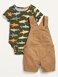 Twill Shortalls & Jersey Bodysuit Set for Baby